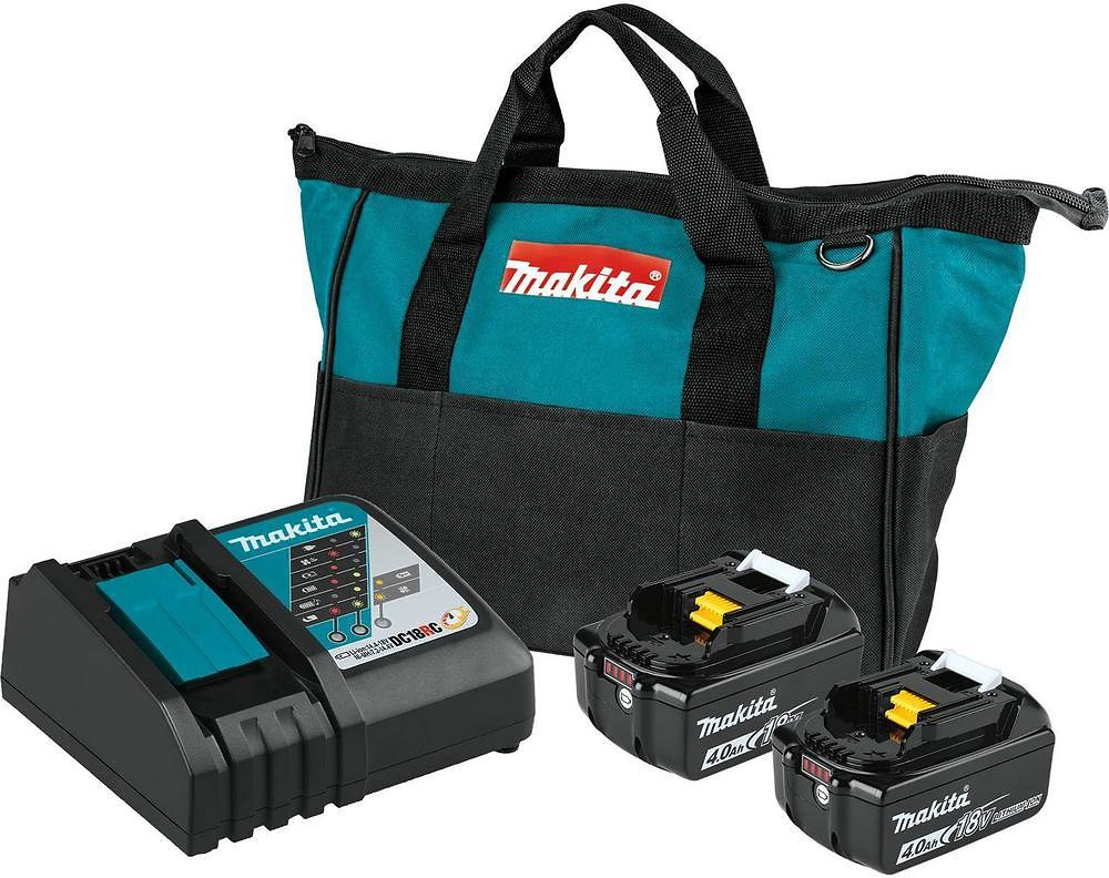 Makita 18-Volt LXT Lithium-Ion 4.0 Ah Battery and Rapid Optimum Charger Starter Pack-BL1840BDC2