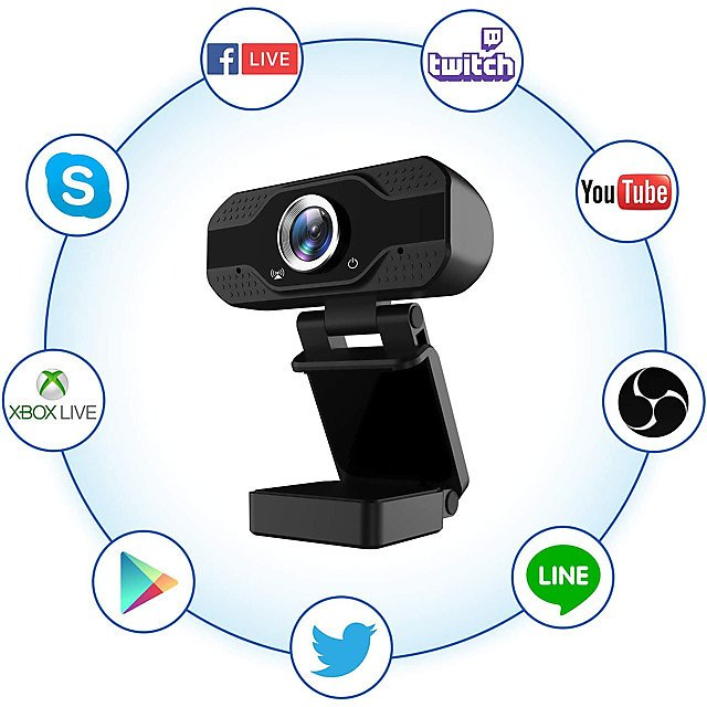 1080P Full HD Webcam with Microphone USB Web Camera Streaming Computer Camera for Windows PC 120 Degrees Wide-Angle 30fps