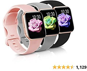 Sport Band Compatible with Apple Watch IWatch Bands 38mm 40mm,Soft Silicone Strap Wristbands for Apple Watch Series 3 6 5 4 2 1 SE Women Men Pack 3,Baby Pink/Black/Gray,38/40mm,M/L