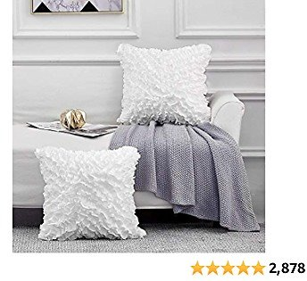 Leeden 18x18 Throw Pillow Covers Set of 2, Decorative Square Boho Pillowcases, White Cushion Cases Covers for Sofa Couch Bed Chair Bedding Décor Floral Soft Farmhouse 3D Handmade 18 Inch (45x45cm)