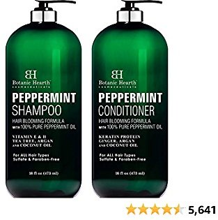 BOTANIC HEARTH Peppermint Oil Shampoo and Conditioner Set - Hair Blooming Formula with Keratin for Thinning Hair,,