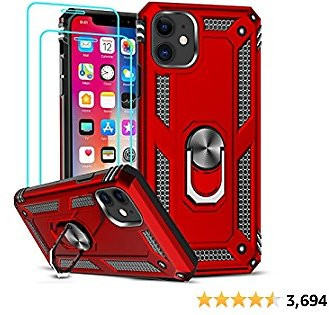 11 Case with [2 ] Tempered Glass Screen Protector, Military-Grade Armor Phone Cover Case with Ring Magnetic Car Mount Kickstand