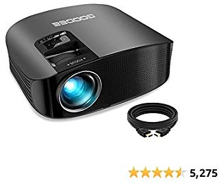 Projector, GooDee 2021 Upgrade HD Video Projector 6800L Outdoor Movie Projector, 1080P and 230