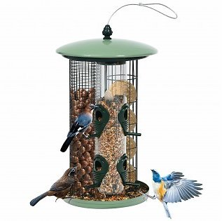 3 in 1 Metal Hanging Wild Bird Feeder Outdoor with 4 Feeding Ports and Perches