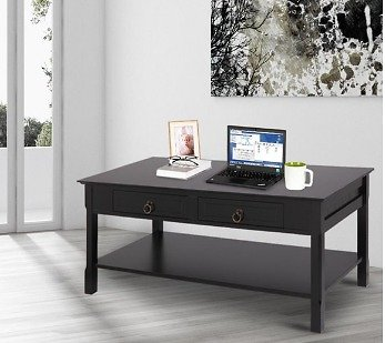 SamyoHome 2 Tiers Wooden Modern Coffee Table with 2 Drawers Rectangle for Living Room Furniture Black