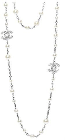 CHANEL Crystal Pearl CC Long Necklace Silver