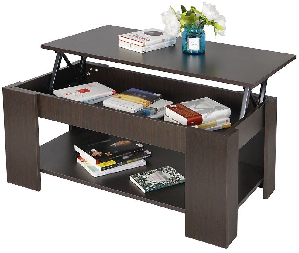 Lift-top Coffee Table w/ Hidden Compartment Storage