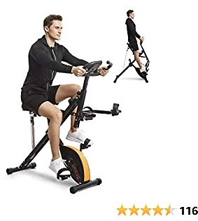 UREVO Stationary Exercise Bike Foldable 3 in 1 Magnetic Upright Bike Indoor Cycling Bike Squat Machine Row and Ride Trainer Glutes Home Gym Workout with LCD Monitor Phone Holder Arm Resistance Bands