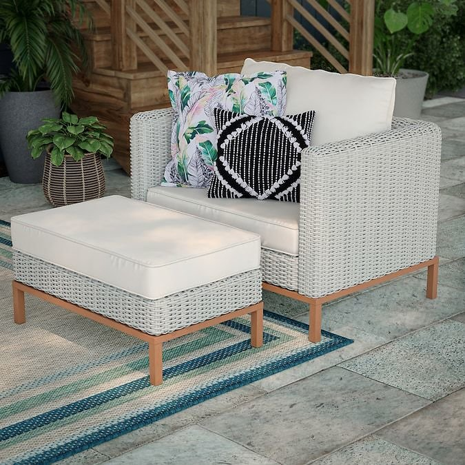 Allen + Roth Veda Springs 2-Piece Metal Frame Patio Conversation Set with Cushion(s) Included