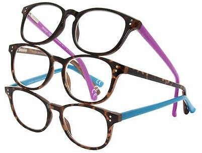 Design Optics By Foster Grant Elodie Plastic Round Reading Glasses, 3-pack