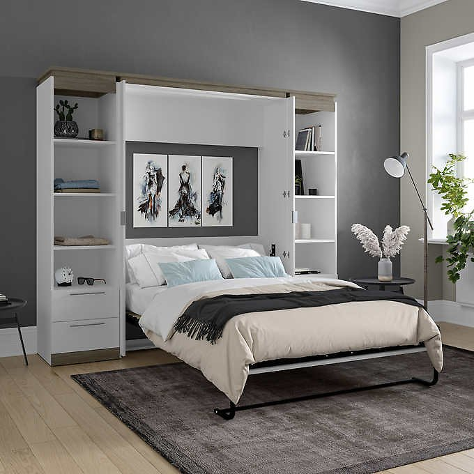 Orion Full Wall Bed with 2 Shelving Units with Drawers (2 Colors)