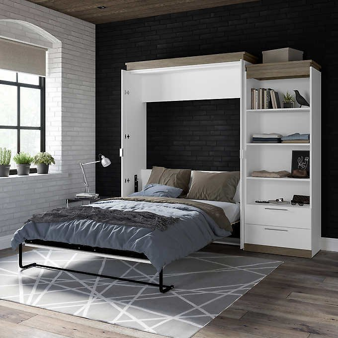 Orion Queen Wall Bed with Shelving Unit with Drawers (2 Colors)