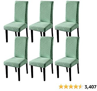 YISUN Dining Chair Covers, Stretch Dining Chair Slipcover Parsons Chair Covers Removable Washable Dining Chair Protector Covers for Dining Room, Hotel, Ceremony (6 Pack, Dark Green)