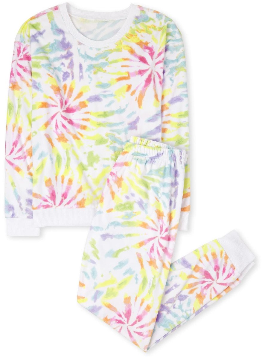 Womens Mommy And Me Tie Dye Matching Velour Pajamas