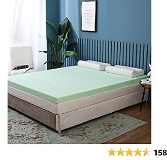 Milemont Green Tea Memory Foam Mattress Topper, 3 Inches Twin Size Upholstered Mattress Foam Pad Topper for Pressure Back Pain Relieving | Cooling Gel Infused Foam