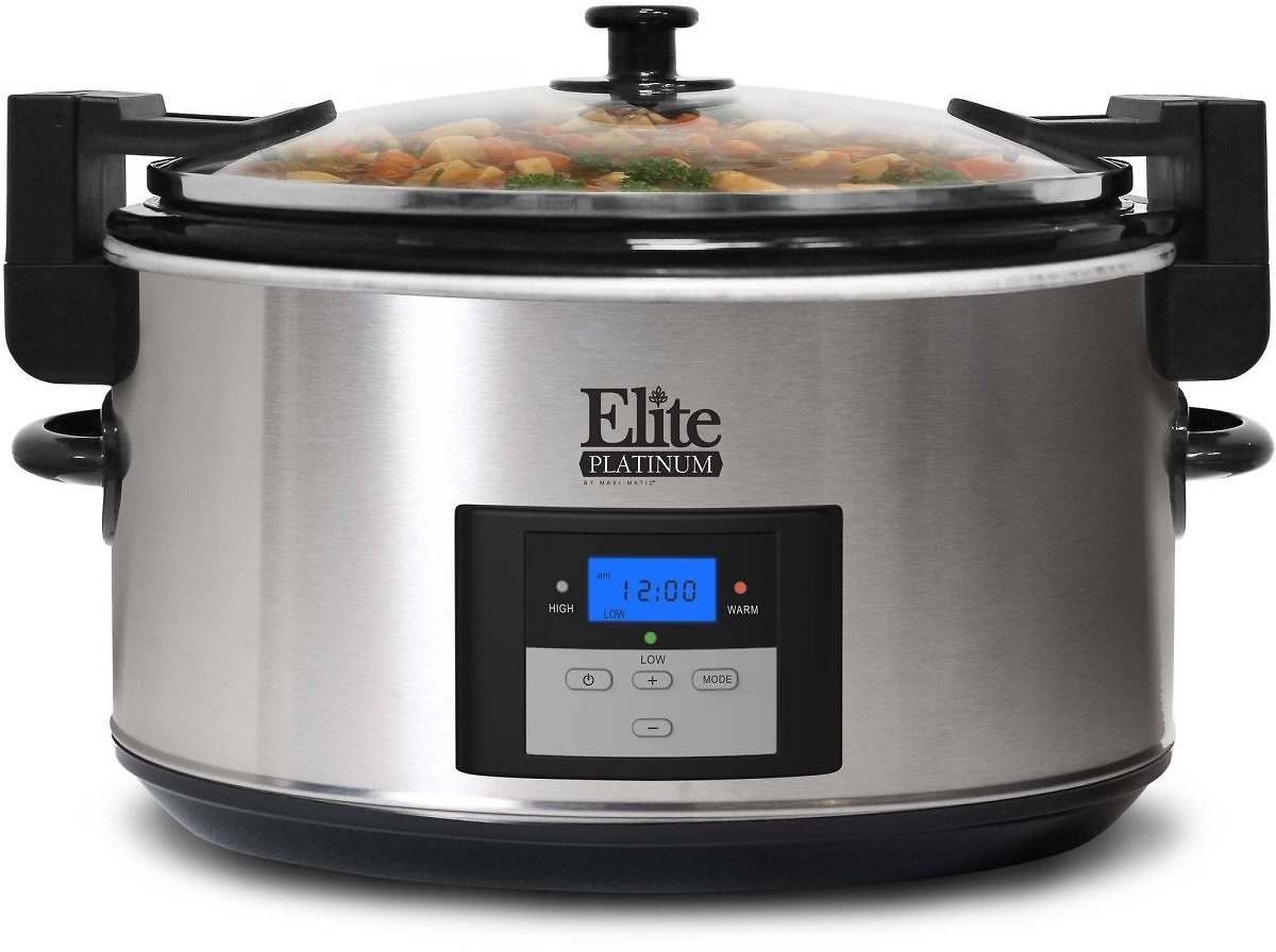 Elite Platinum 8.5-Quart Stainless Steel Programmable Slow Cooker with Locking Lid