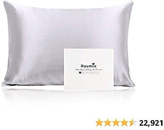 Ravmix 100% Mulberry Silk Pillowcase for Hair and Skin with Hidden Zipper, Both Sides 21 Momme Real Natural Silk, Amazon