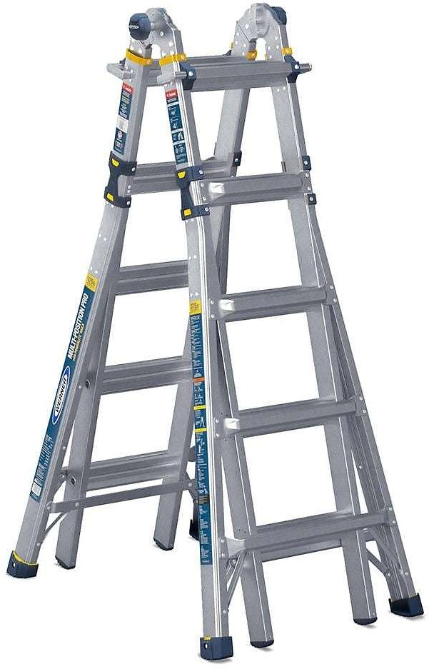 WERNER 22 Ft. Reach Aluminum 5-in-1 Multi-Position Pro Ladder, 375 Lbs. Load Capacity