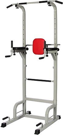 Everyday Essentials Power Tower with Push-up, Pull-up and Workout Dip Station for Home Gym Strength Training, Gray