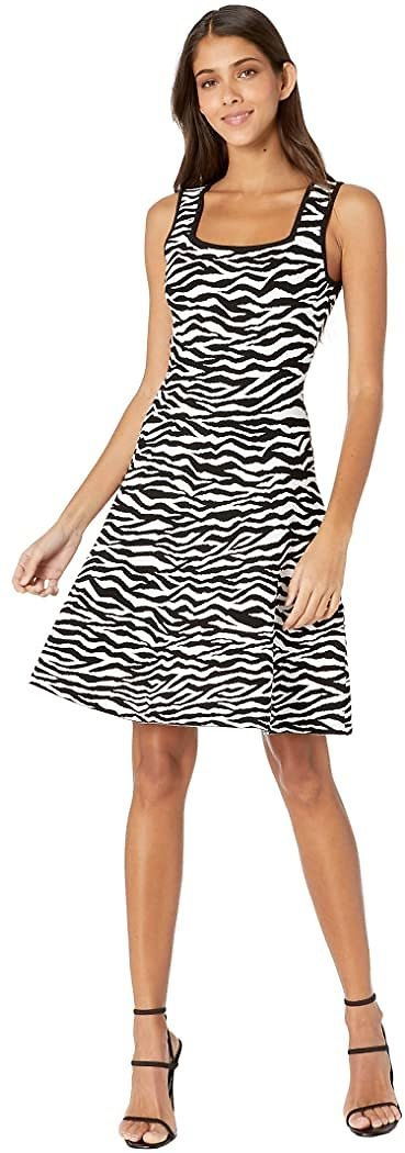 Abstract Zebra Fit-and-Flare Dress