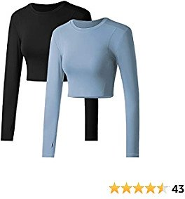 IHOT 2 Pack Women's Crop Tops Workout Long Sleeve Shirts Athletic Yoga Crewneck Cropped Sweatshirts with Thumb Hole