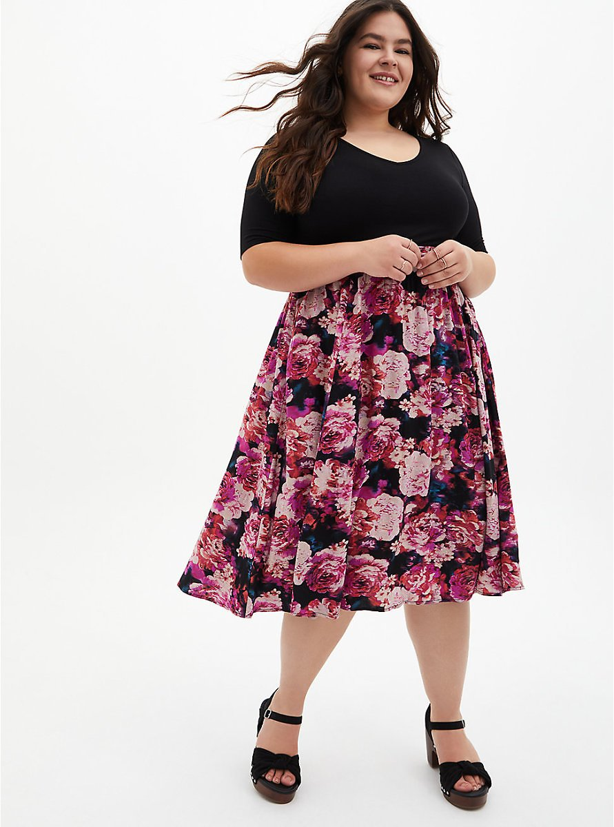 Black Floral Knit-To-Woven Dress