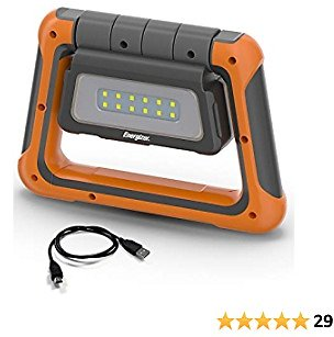 Energizer Multi-Panel Rechargeable LED Lantern, IPX4 Water Resistant, Super Bright 1000 Lumens, USB Charging Cable Included, Power Bank Function, Adjustable Legs, Orange/Gray, Compact