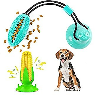 60% Off Dog Puppy Toy 2 Pack,Suction Cup Dog Toys,Corn Dog Chew Tug of War Toys,IQ Treat Ball,Teeth Cleaning and Pet Boredom