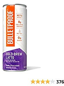 Cold Brew Coffee, Dark Chocolate, 8 Fl Oz, 110 Calories, 12 Pack, Bulletproof Iced Keto Coffee with 8g Protein, Brain Octane C8 MCT Oil, Grass Fed Butter, Zero Added Sugar for Sustained Energy