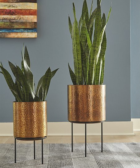 45% Off Antique Brass Donisha Planter - Set of Two
