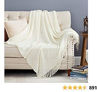 Bedsure Off White Throw Blanket for Couch, Lightweight Knit Woven Blanket, 50x60 Inch - Soft Farmhouse Decorative Blanket with Tassels for Bed, Couch, Sofa