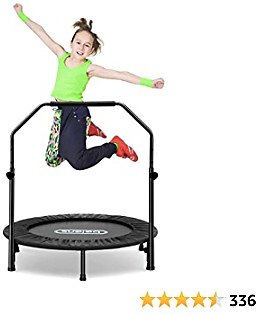 Beiens 40 Inch Foldable Mini Rebounder with Adjustable Foam Handle and Safety Pad, Indoor Outdoor Exercise Rebounder for Adults Kids Body Fitness Training Workouts, Max Load 250lbs