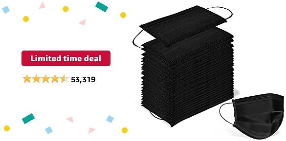 Limited-time Deal: Wecolor 100 Pcs Disposable 3 Ply Earloop Face Masks, Suitable for Home, School, Office and Outdoors (Black)
