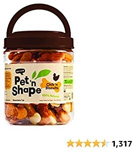 Pet 'n Shape Chik 'n Biscuits – All Natural Chicken Wrapped Dog Treats - 1 Pound Treat Tub