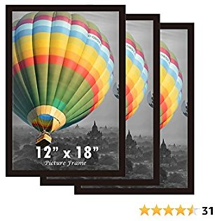 X-FRAME 12x18 Picture Frames for Wall Set of 3, Natural Wood Poster Frame with Plexi Glass for 12 X 18 Inch Photo Certificate Print, Hanging Display Vertically or Horizontally (Black, 3 Pack)