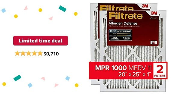 Limited-time Deal: Filtrete 20x25x1, AC Furnace Air Filter, MPR 1000, Micro Allergen Defense, 2-Pack (exact Dimensions 19.688 X 24.688 X 0.84)
