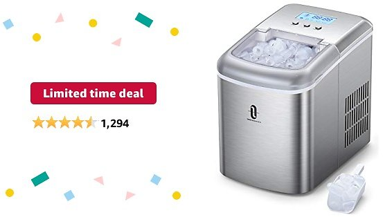 Limited-time Deal: TaoTronics TT-IC002 Countertop Machine with LCD Display, Self-Cleaning Function, 9 Bullet Cubes Ready in 6-9 Mins, 26lbs/24H, 2.1L Electric Ice Maker with Scoop Basket for Home Kitchen Office Bar
