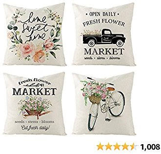 Tosewever Set of 4 Decorative Spring Floret Throw Pillow Covers - Bicycle Car Flower Linen 18 X 18 Inches Pillow Cushion Case for Sofa Couch Bed Home Outdoor (18