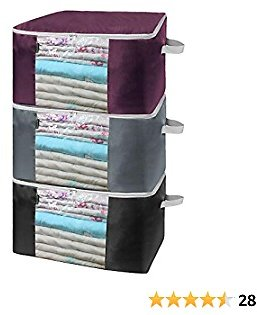 Classic Solid Color Closet Organization and Storage Bins Set of 3 Foldable Storage Bag Organizers Large Clear Window Sturdy Carry Handles 90LBS Moistproof for Sheets Clothes Black Grey Burgundy