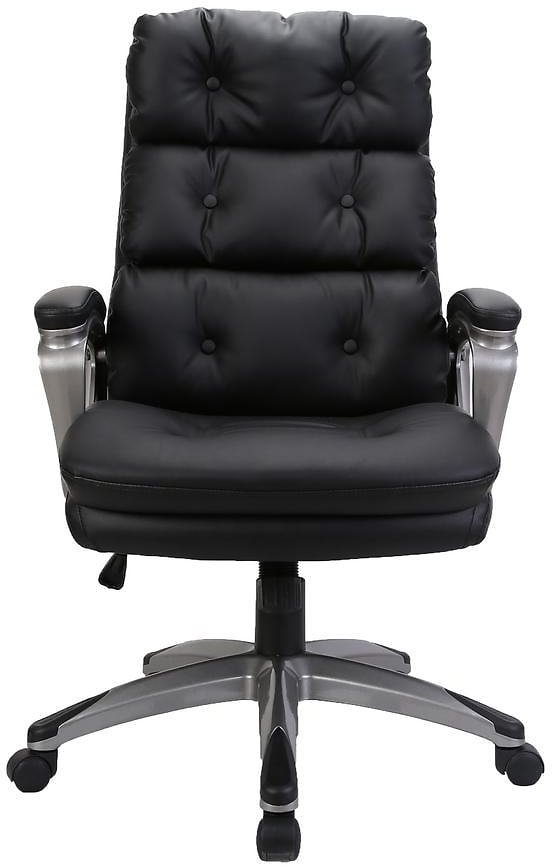 HOMEFUN Black High Back Adjustable Height Leather Ergonomic Executive Office Chair with Lumbar Support-HFHDOF-016BK