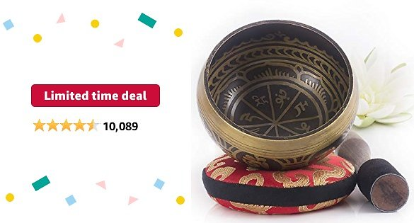 Limited-time Deal: Tibetan Singing Bowl Set — Easy to Play with New Dual-End Striker & Cushion ~ Creates Beautiful Sound for Holistic Healing, Meditation & Relaxation ~ Antique Design