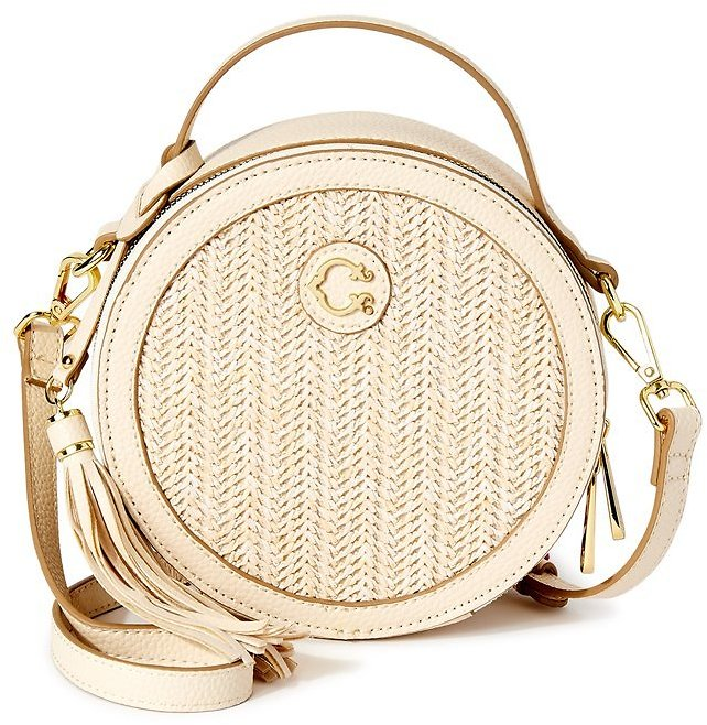 C. Wonder Julia Round Faux Straw Crossbody Bag with Texture (2 Colors)