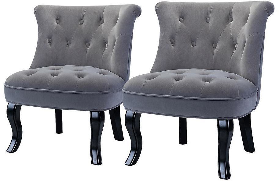 JAYDEN CREATION Jane Grey Tufted Accent Chair (Set of 2)-MA3288-GREY-S2
