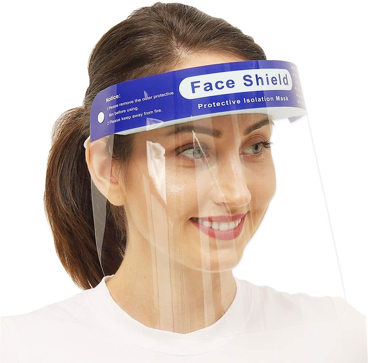 Limited-time Deal: Face Shield Safety Reusable 4PCS【Updated Version】Anti-Fog Wide Visor Spitting Anti-Fog Lens Lightweight Face Shield with for Men and Women