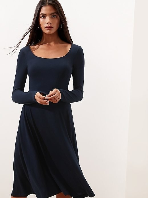 Knit Scoop-Neck Fit-and-Flare Dress (3 Colors)