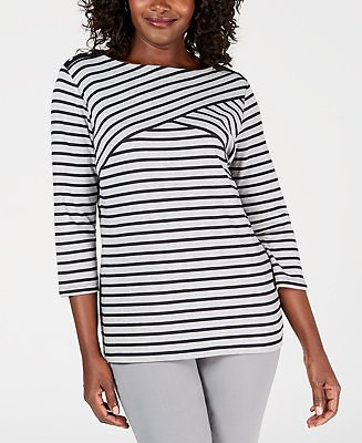 Plus Size Abstract Stripe Top