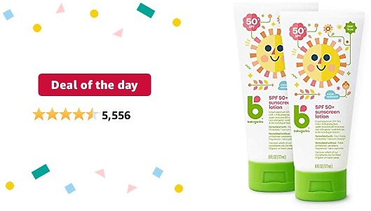 Deal of The Day: Babyganics SPF 50 Baby Sunscreen Lotion UVA UVB Protection   Water Resistant  Non Allergenic, 2 Pack (6 Ounce)