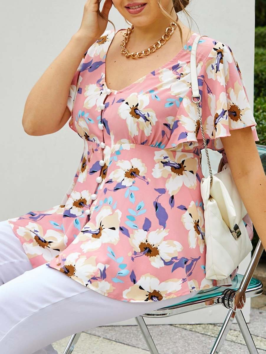 Plus Size Flower Butterfly Sleeve Loop Button Tunic Blouse - L