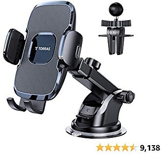 TORRAS [Ultra-Durable] Cell Phone Holder for Car, Universal Car Phone Mount Dashboard Windshield Vent Compatible with IPhone 12 11 Pro Max XS X XR 8 SE, Samsung Galaxy S20+Ultra S10 Note 10 Plus &All
