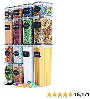 Chef's Path Airtight Food Storage Containers Set - 14 PC - Kitchen & Pantry Organization - BPA-Free - Plastic Canisters with Durable Lids Ideal for Cereal, Flour & Sugar - Labels, Marker & Spoon Set